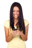 使用移动电话的新俏丽的妇女 免版税图库摄影
