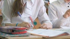 使用笔,女小学生在习字簿写文本 股票录像
