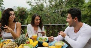 使用细胞巧妙的电话,人们吃健康素食食物谈话,朋友通信坐热带大阳台 影视素材