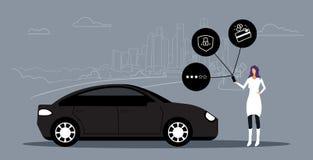 使用网上流动应用程序租汽车分享概念运输汽车共用模式服务女孩藏品智能手机的妇女 向量例证