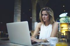 使用网书的女性自由职业者为距离工作在早晨早餐期间在咖啡馆 库存图片