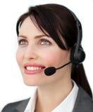 使用耳机的明亮的客户服务部座席 免版税库存图片