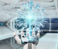 使用联络数字式的地球的白色机器人手人3D回报 免版税库存照片