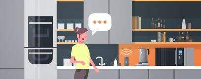 使用聪明的报告人语音识别的主妇激活了数字助理现代自动化的指令报告的概念 库存例证