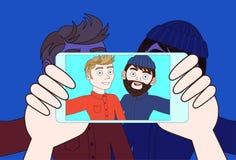 使用聪明的电话照相机的手拍两个年轻人Selfie照片  皇族释放例证