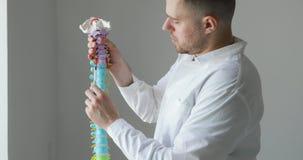 使用脊椎模型,人医生解释疾病 影视素材