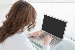 使用膝上型计算机的一名棕色毛发的女实业家的背面图 免版税库存图片