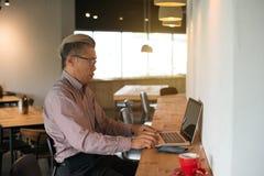 使用膝上型计算机的亚洲资深男性 库存图片