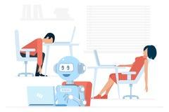 使用膝上型计算机的勤勉正面机器人在被用尽的男人和妇女附近办公室传染媒介例证的 向量例证