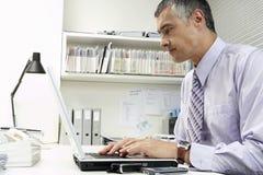 使用膝上型计算机的商人在办公桌 库存照片