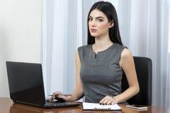 使用膝上型计算机的女商人 免版税图库摄影