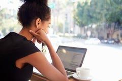 使用膝上型计算机的女实业家在咖啡店 库存图片