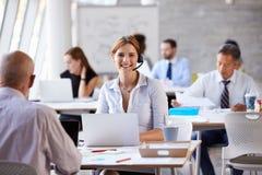 使用膝上型计算机的女实业家在顾客服务部 库存图片