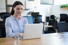 使用膝上型计算机的女性执行委员在书桌 库存图片