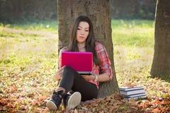 使用膝上型计算机的学生对学会 免版税库存照片