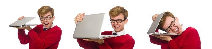 使用膝上型计算机的学生隔绝在白色 免版税库存图片
