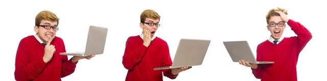 使用膝上型计算机的学生隔绝在白色 库存图片