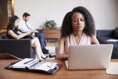使用膝上型计算机的年轻黑人女实业家在书桌 免版税库存照片