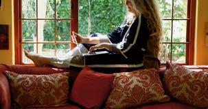 使用膝上型计算机的成熟妇女在窗口4k附近 股票视频