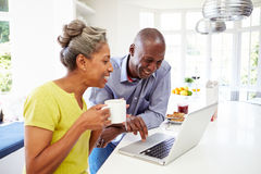 使用膝上型计算机的成熟非裔美国人的夫妇在Bre 库存图片