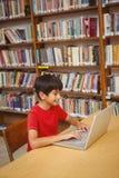使用膝上型计算机的男孩在图书馆 库存图片