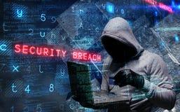 使用膝上型计算机的黑客的综合图象窃取身分 免版税库存图片