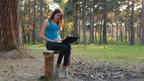 使用膝上型计算机的年轻美丽的妇女在夏日 股票录像