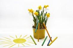 使用色的铅笔,春天上色抽象 库存图片