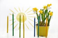 使用色的铅笔,春天上色抽象 库存照片