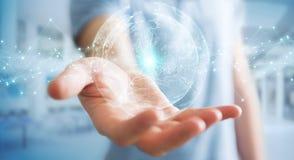 使用行星地球网络球形3D翻译的商人 免版税库存照片