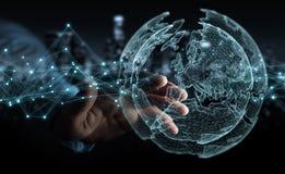 使用行星地球网络球形3D翻译的商人 免版税库存图片