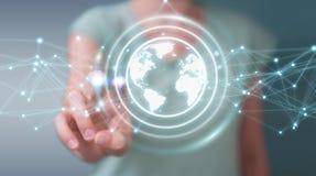 使用行星地球网络球形3D翻译的女实业家 图库摄影