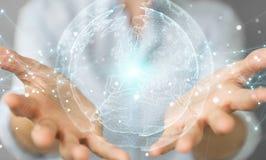 使用行星地球网络球形3D翻译的女实业家 免版税图库摄影