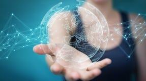 使用行星地球网络球形3D翻译的女实业家 免版税库存图片
