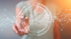 使用行星地球网络球形3D翻译的女实业家 免版税库存照片
