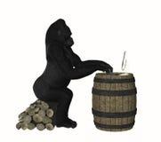使用计算机例证的聪明的大猩猩猿 免版税库存图片