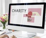 使用计算机展览会慈善图表 库存图片