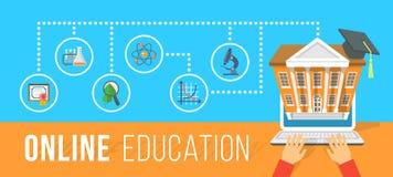 使用计算机平的概念的网上教育 免版税图库摄影