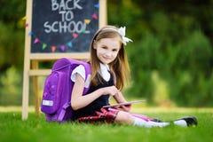 使用计算机片剂的可爱的小女孩,当坐一棵草在夏日时 库存图片