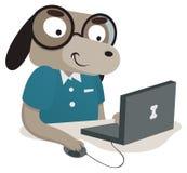 使用计算机的书呆子狗 库存例证