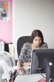使用计算机的女性执行委员在办公桌 库存图片