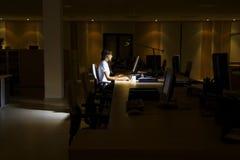 使用计算机的妇女在黑暗的办公室 免版税库存照片