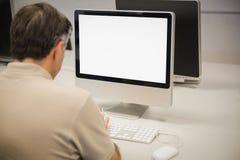 使用计算机的教授背面图  免版税图库摄影