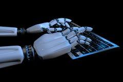 使用计算机的机器人靠机械装置维持生命的人手 键入在键盘的机器人的手 E 库存例证