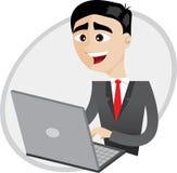 使用计算机膝上型计算机的动画片商人 免版税库存图片