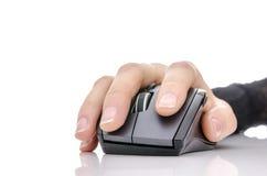 使用计算机鼠标的女性现有量 库存图片