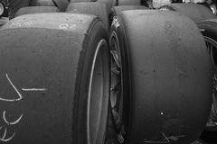 使用赛跑轮胎 库存照片