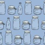 使用较不塑料玻璃瓶子无缝的样式 方形的模板 生态和零废物 r 向量例证