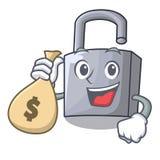 使用金钱袋子在木门的字符挂锁 向量例证