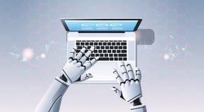 使用键入油罐顶部角钢视图人工智能的手提电脑的机器人手数字未来派技术概念 库存例证